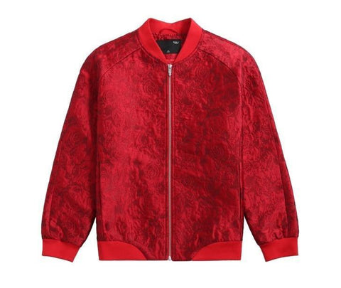 "The ""Anton"" Jacquard Bomber Jacket - Crimson"