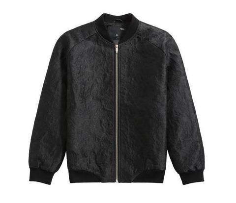 "The ""Anton"" Jacquard Bomber Jacket - Black pinli Store"