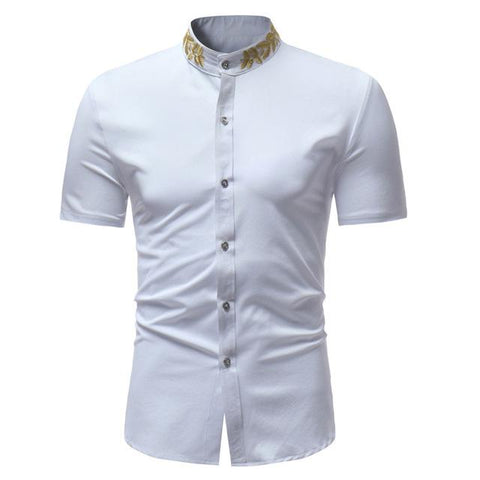 "The ""Caesar"" Mandarin Collar Short Sleeve Shirt - Multiple Colors William // David White S"
