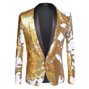 "The ""Tristan"" Sequin Slim Fit Blazer Suit Jacket - Gold William // David XS"