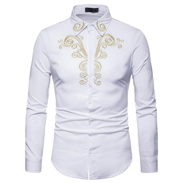 "The ""Imperial"" Embroidered Long Sleeve Shirt - Multiple Colors William // David White XXS"