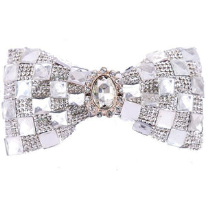 "The ""Mikel"" Crystal Bow Tie - Silver PAWXFB Official Store"