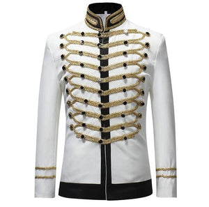 "The ""Centurion"" Mandarin Collar Jacket - Multiple Colors shenrun Official Store White L"