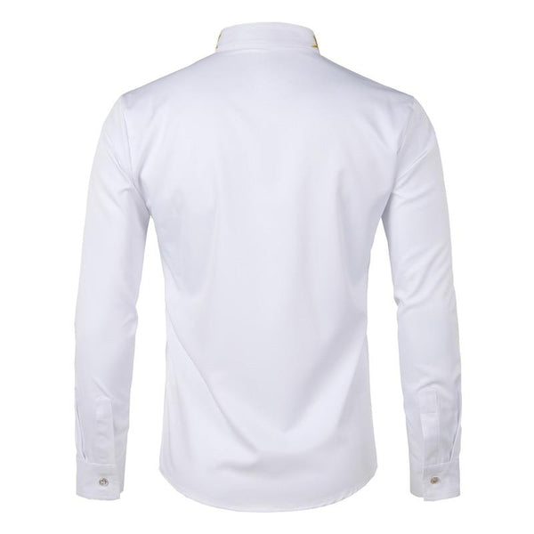 "The ""Caesar"" Mandarin Collar Long Sleeve Shirt - Multiple Colors William // David"