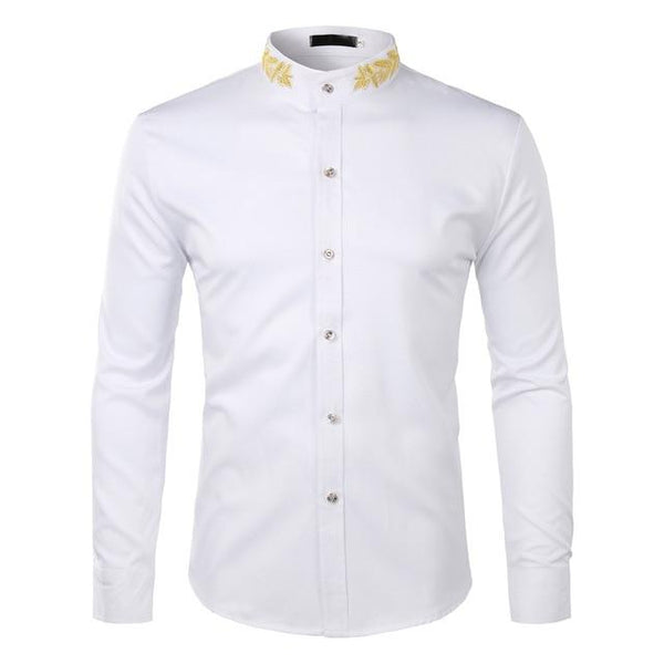 "The ""Caesar"" Mandarin Collar Long Sleeve Shirt - Multiple Colors William // David White S"