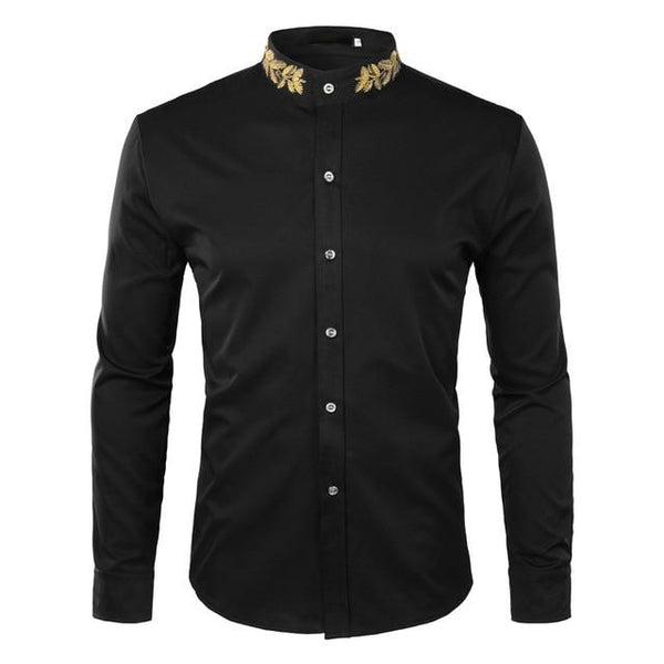 "The ""Caesar"" Mandarin Collar Long Sleeve Shirt - Multiple Colors William // David Black S"