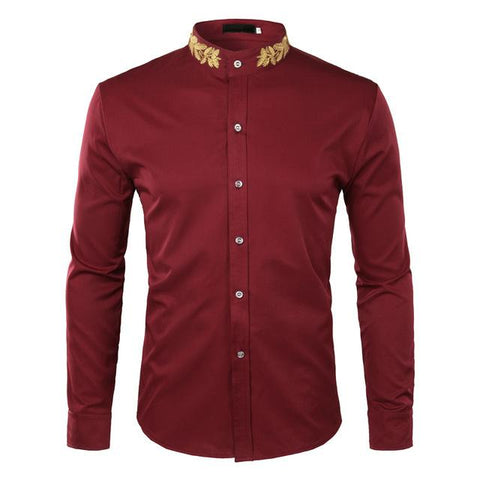 "The ""Caesar"" Mandarin Collar Long Sleeve Shirt - Multiple Colors William // David Maroon S"