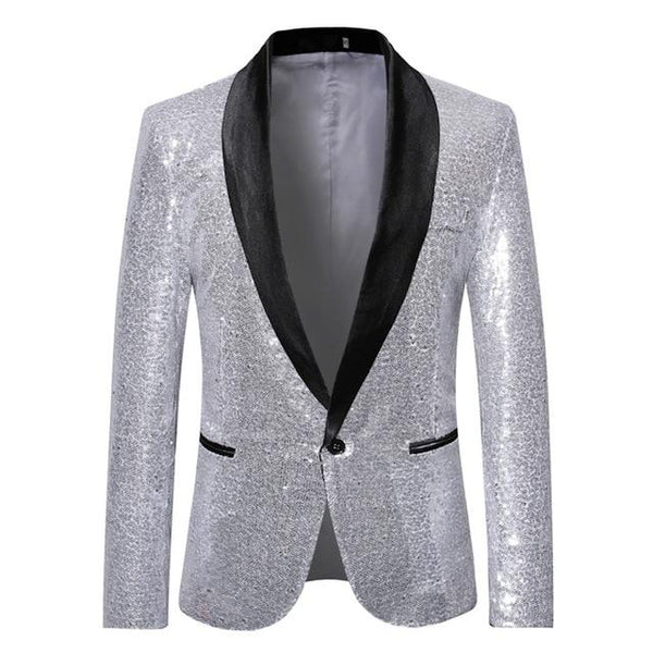 "The ""Crystal"" Slim Fit Blazer Suit Jacket - Platinum UplzCoo Fashionable Store S"