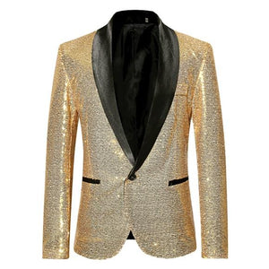 "The ""Crystal"" Slim Fit Blazer Suit Jacket - Gold UplzCoo Fashionable Store S"
