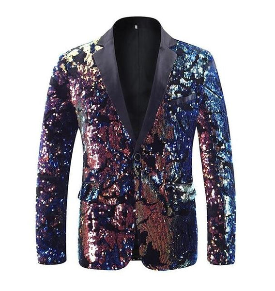 "The ""Thierry"" Sequin Slim Fit Blazer Suit Jacket YUNCLOS Official Store L"