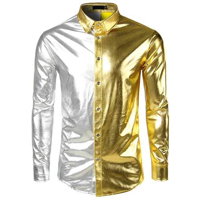"The ""Giorgio"" High Gloss Splice Shirt - Multiple Colors fortune day Gold S"