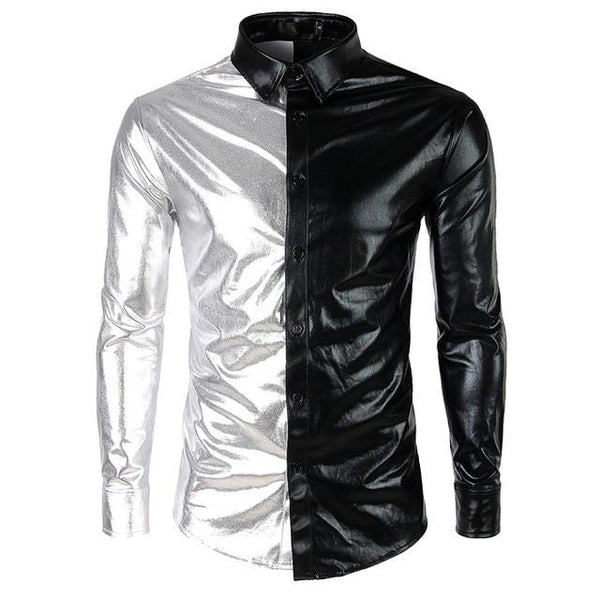 "The ""Giorgio"" High Gloss Splice Shirt - Multiple Colors fortune day Black S"