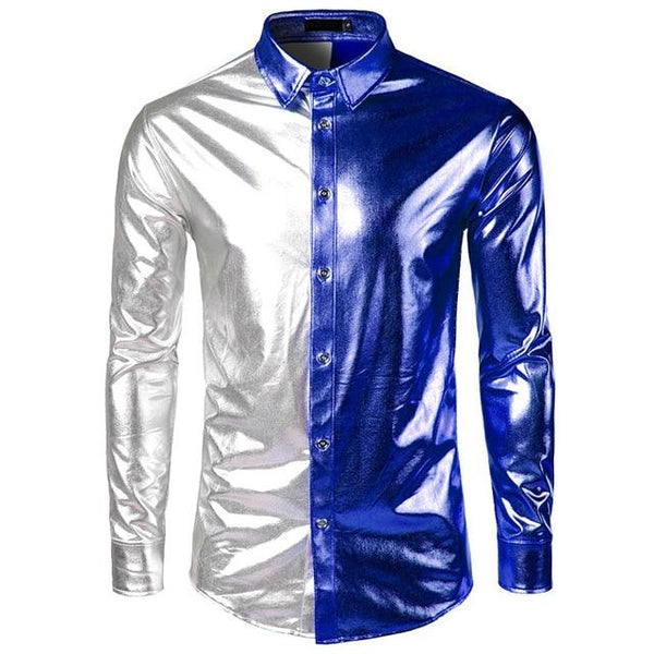 "The ""Giorgio"" High Gloss Splice Shirt - Multiple Colors fortune day Blue S"