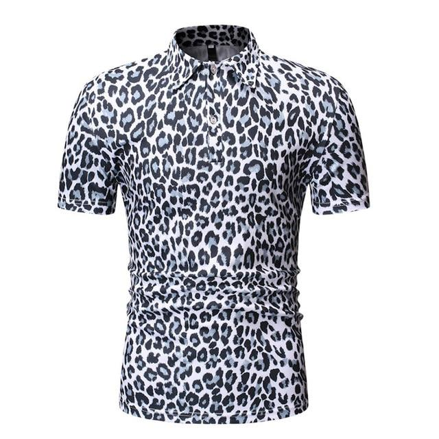 "The ""Leopard"" Short Sleeve Polo Shirt - Multiple Colors William // David White M"