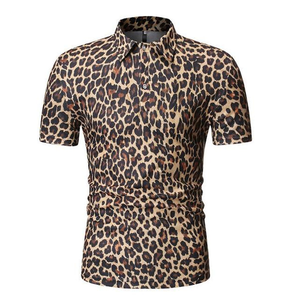 "The ""Leopard"" Short Sleeve Polo Shirt - Multiple Colors William // David Orange M"