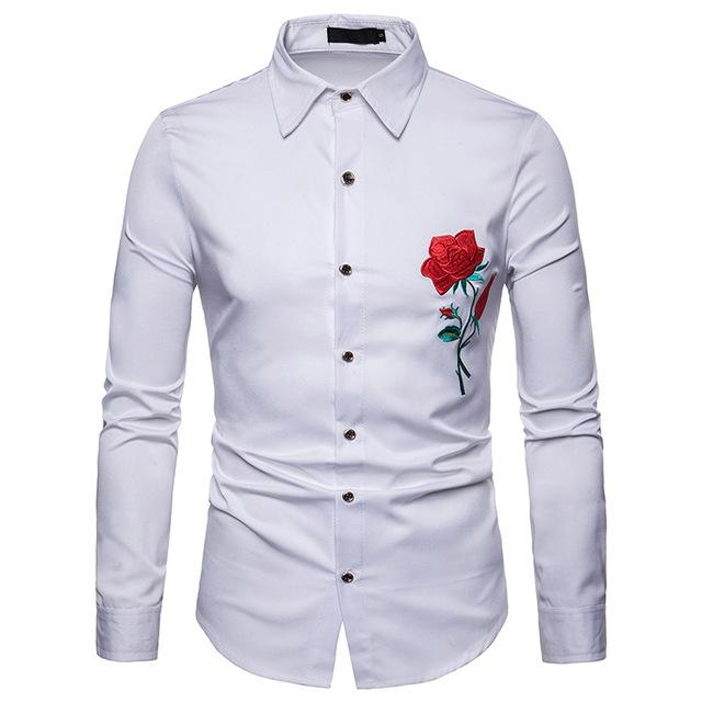 "The ""Blossom"" Embroidered Long Sleeve Shirt - Multiple Colors Hipster 3D Wardrobe Store White S"