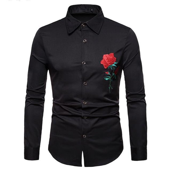 "The ""Blossom"" Embroidered Long Sleeve Shirt - Multiple Colors Hipster 3D Wardrobe Store Black S"