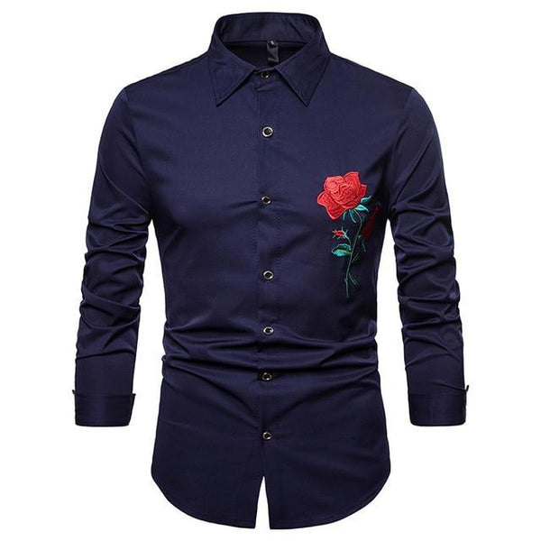 "The ""Blossom"" Embroidered Long Sleeve Shirt - Multiple Colors Hipster 3D Wardrobe Store Navy S"