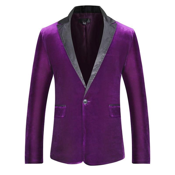 "The ""Xavier"" Slim Fit Velvet Blazer Suit Jacket - Violet William // David"