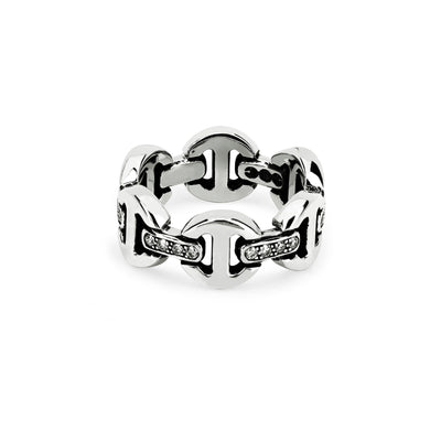BRUTE CLASSIC TRI-LINK WITH DIAMOND BRIDGES | STERLING SILVER