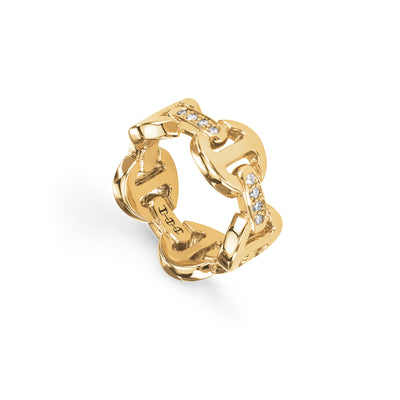 DAME CLASSIC TRI-LINK WITH DIAMOND BRIDGES | 18K GOLD