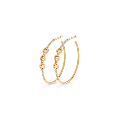 MINI HOOP WITH DIAMOND BRIDGES & HOOPS | 18K GOLD
