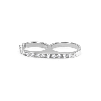 DOUBLE KNUCKLE WITH DIAMONDS | STERLING SILVER