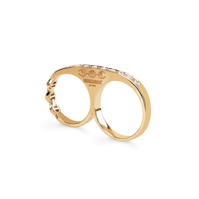 DOUBLE KNUCKLE WITH DIAMONDS | 18K GOLD