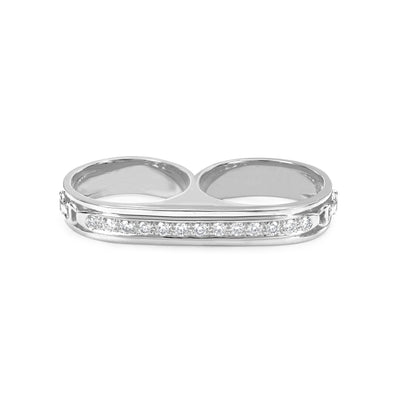 DOUBLE BARREL KNUCKLE WITH DIAMONDS | STERLING SILVER