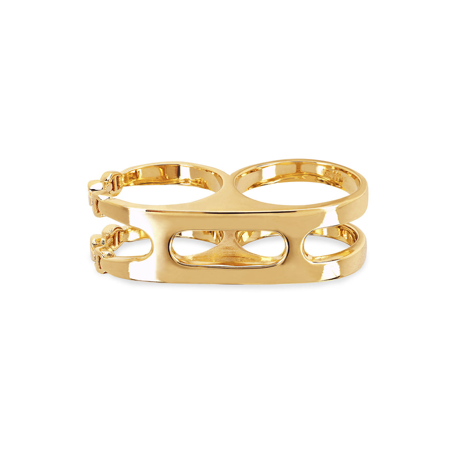 OPEN DOUBLE KNUCKLE RING | 18K GOLD