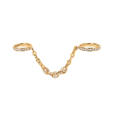 BONDED 3MM OPEN-LINKS WITH FIVE LINK PAVE | 18K GOLD