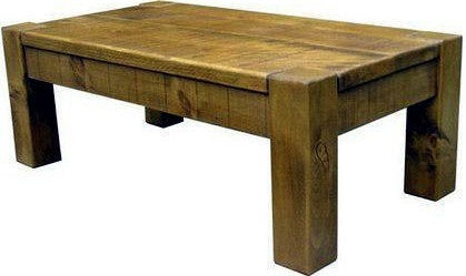 Solid Wood Rustic Plank Pine Coffee Table 1 2