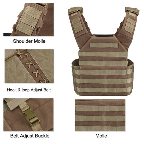 Black Brown Camo Military Tactical Plate Carrier Vest