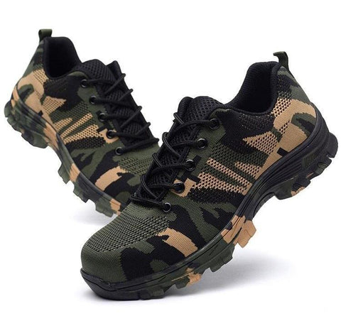 Camouflage Men Safety Work Boots Steel Toe Shoes