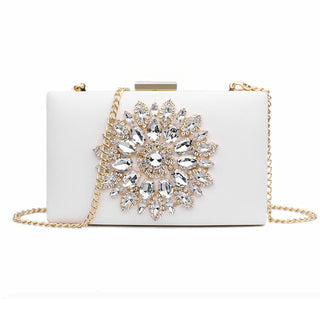 White Floral Handbag Evening Clutch Bags Crystal Bags for Women.