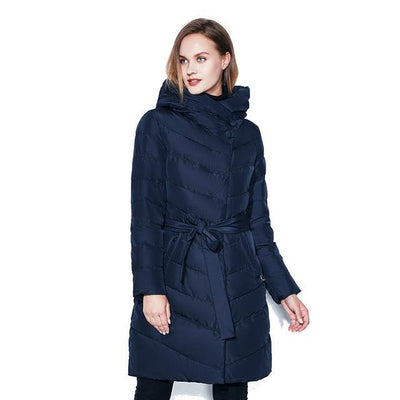 Women Winter Coat Warm Belt Jacket High-Necked Hat