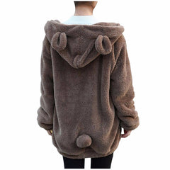 Women Hoodie Zipper Winter Loose Fluffy Bear Ear Jacket Sweatshirts
