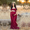 Maroon Maternity Gowns For Photography Shooting V-Neck Red Dress Maternity Photography