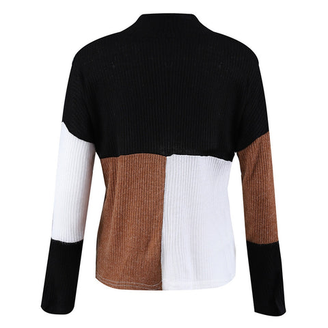 Women's Knitted Casual Winter Sweater Colorblock