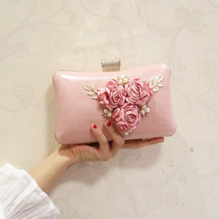 Floral Purses with Pearl Luxury Clutch Bags.