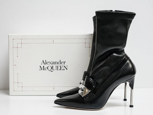 Alexander McQueen Black Stretch Leather Boot Watson 586432