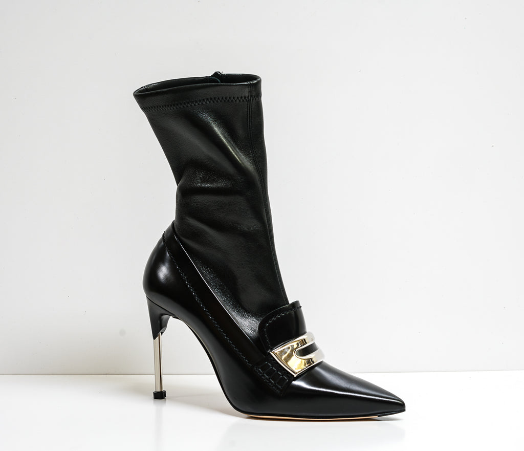 Details about  /New in Box Alexander McQueen Black Stretch Leather Boot Watson 586432