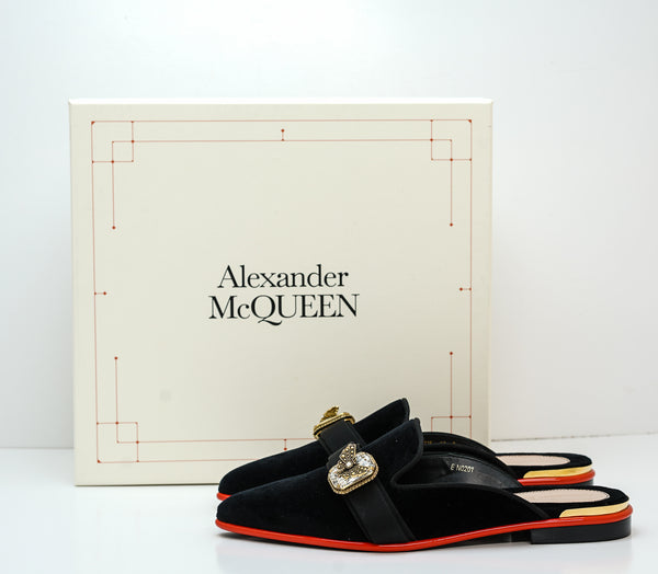 Alexander McQueen Black Velvet Jewel Slipper 611725