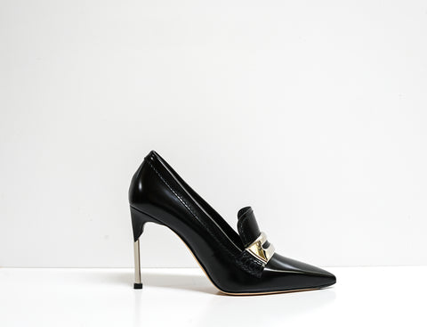 Alexander McQueen Black & Silver Leather Shoe 586433