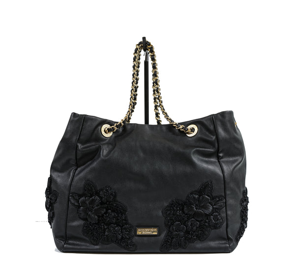Scervino Street Large Black Flower Handbag P605