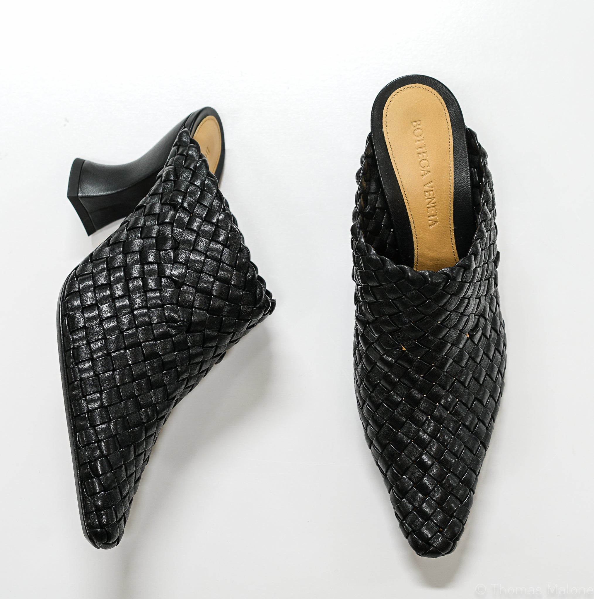 Bottega Veneta Women's Black Woven Leather Mule 608849