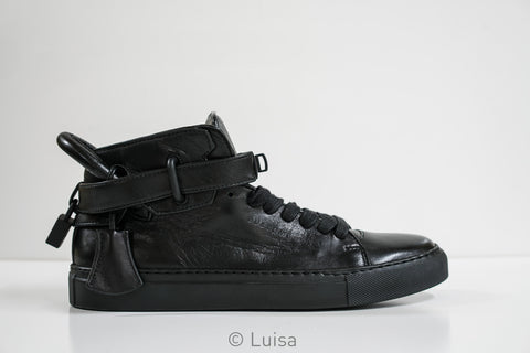 Buscemi Women's Black Leather Hi Top Sneakers 1100