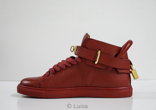 Buscemi Red Leather Hi Top Sneakers W1007