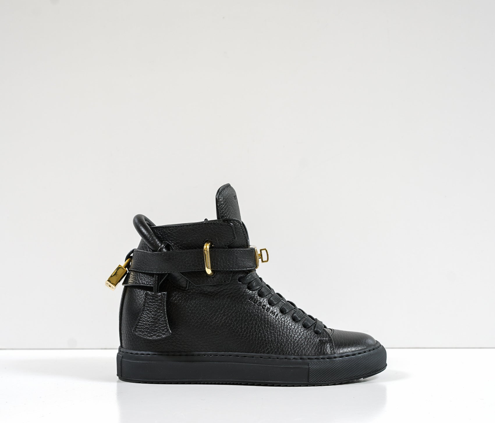 Buscemi Women's Black Leather 100 MM Hi-Top Sneaker 1007