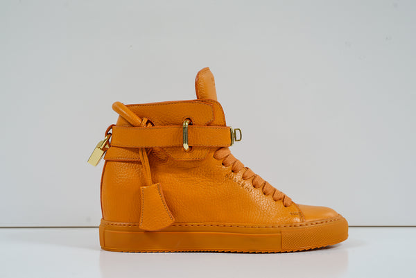 Buscemi Women's Orange Leather Hi Top Sneakers W1100